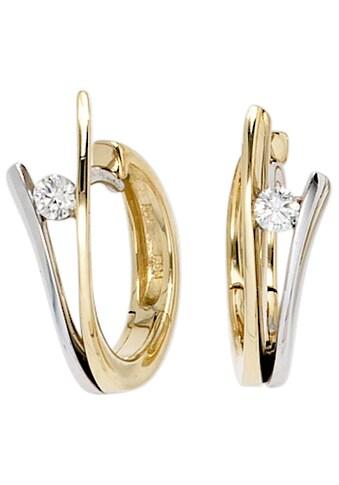 JOBO Paar Creolen, 585 Gold bicolor mit 2 Diamanten kaufen