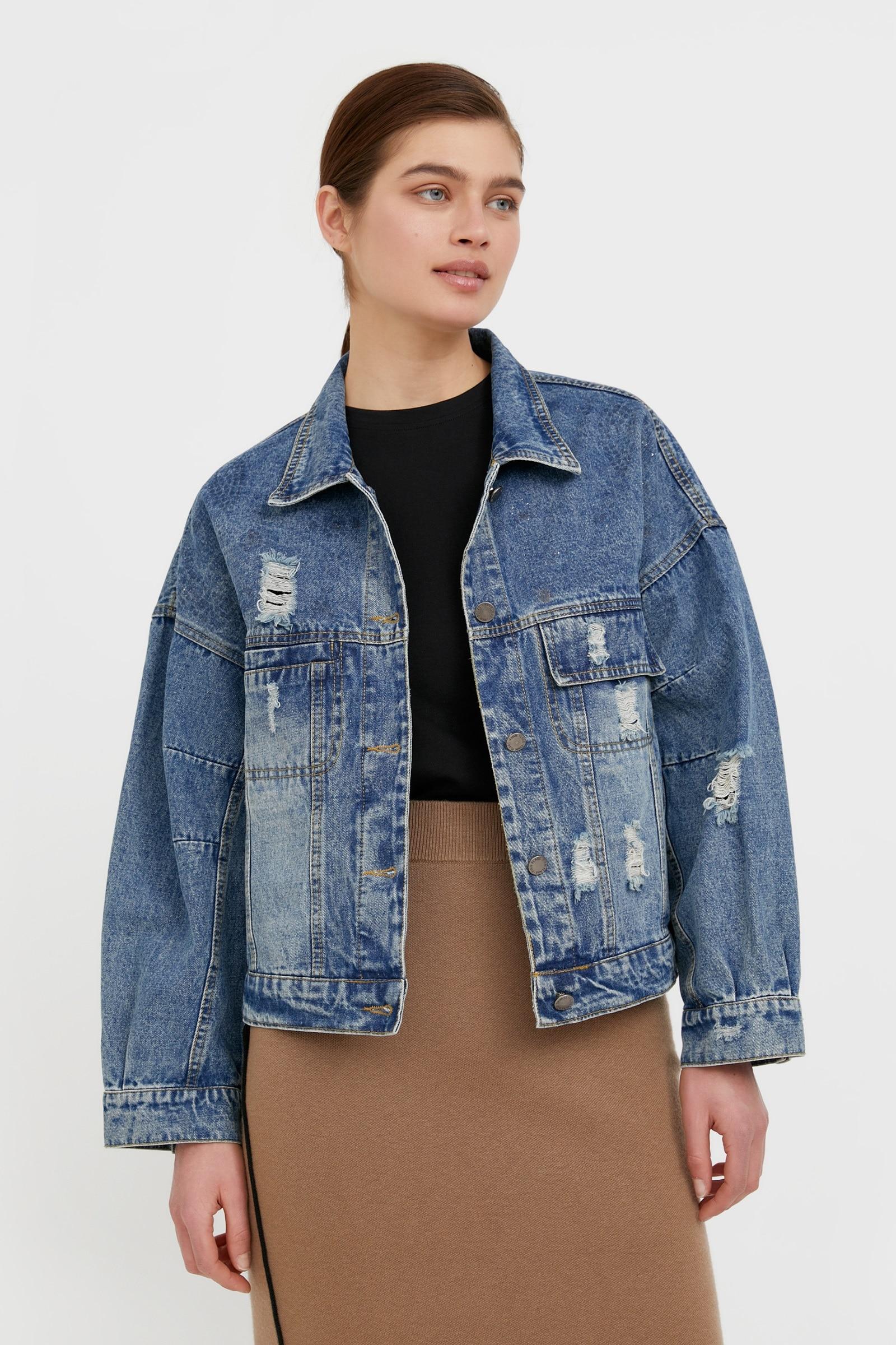 finn flare -  Jeansjacke, mit stylischen Used-Elementen