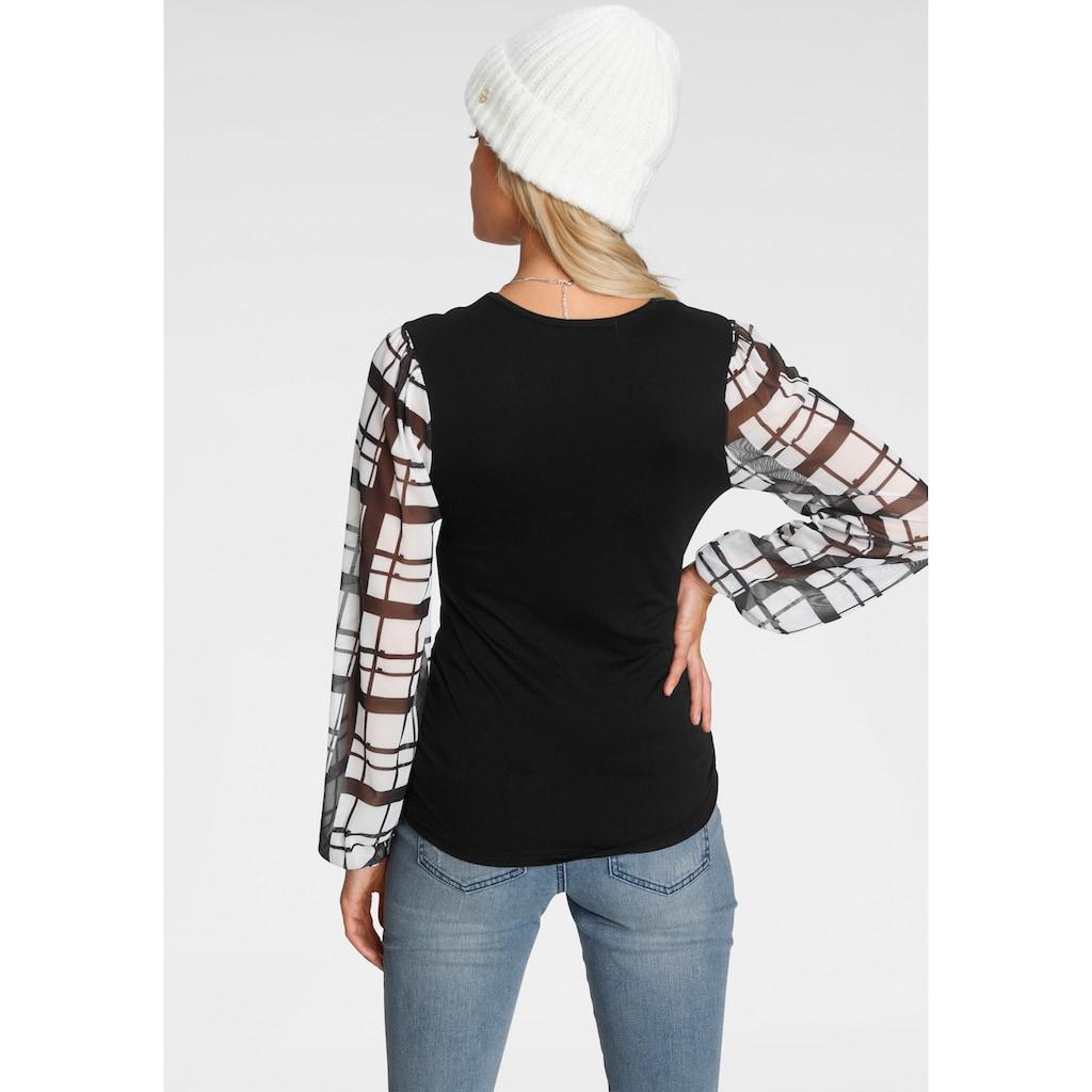 Melrose V-Shirt, mit trransparenten, bedruckten Ärmeln - NEUE KOLLEKTION