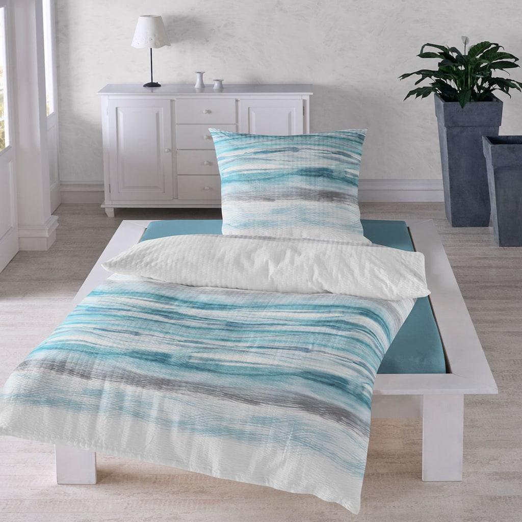 TRAUMSCHLAF Bettwäsche »Wellen«, bügelfreie Seersucker Qualität