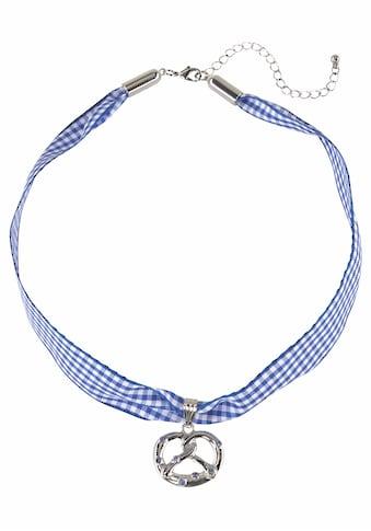 J.Jayz Choker »kariert, mit Brezelanhänger blau/weiß, Wiesn, Trachten«, (1 tlg.), mit Swarovski-Kristallen kaufen