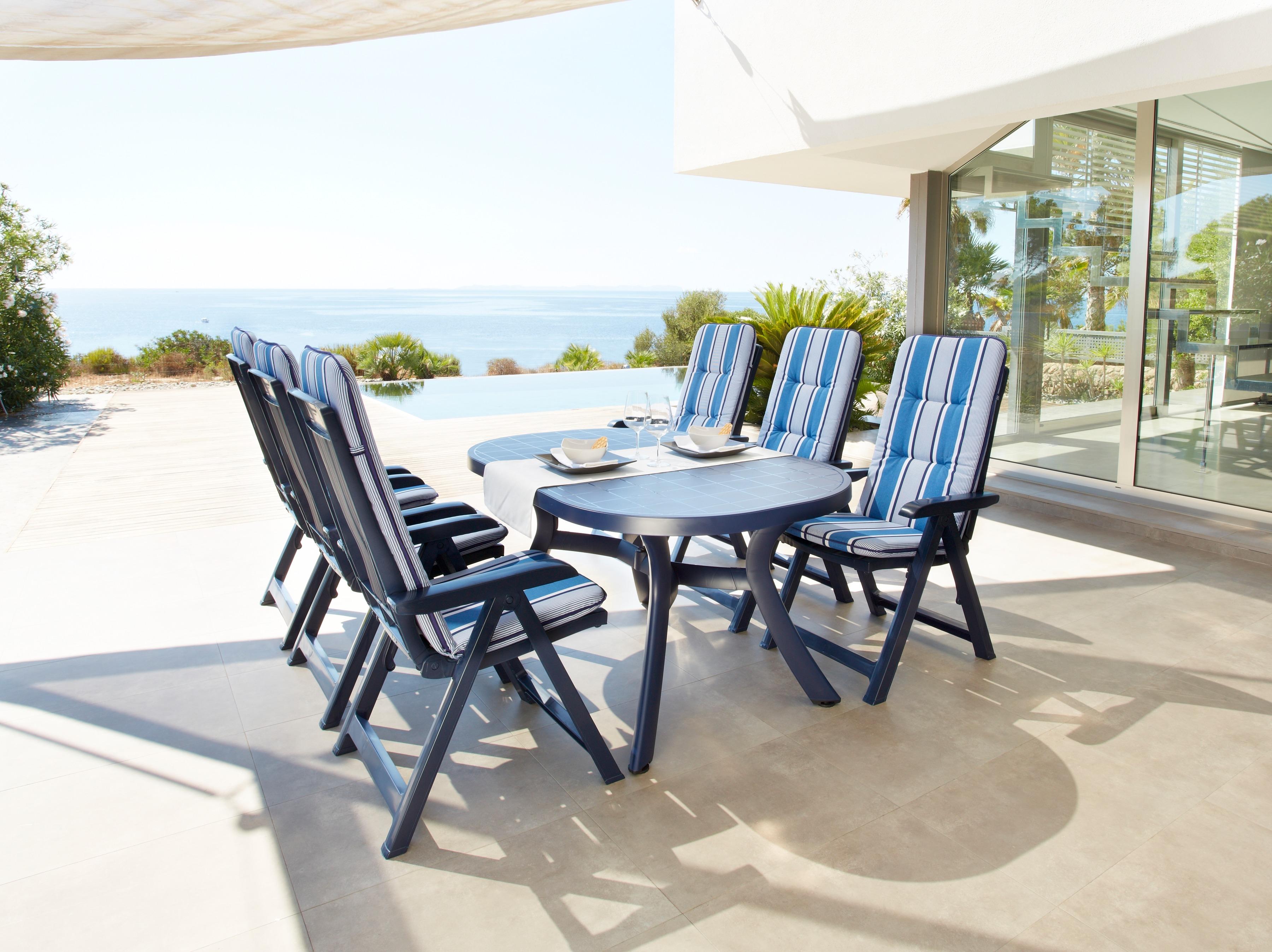 Best 7-tlg Gartenmöbelset Kansas 6 Klappsessel Tisch 145x95 cm Kunststoff blau verstellbar
