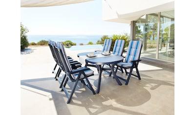 Best 7 - tlg. Gartenmöbelset »Kansas«, 6 Klappsessel, Tisch 145x95 cm, Kunststoff, blau, verstellbar kaufen