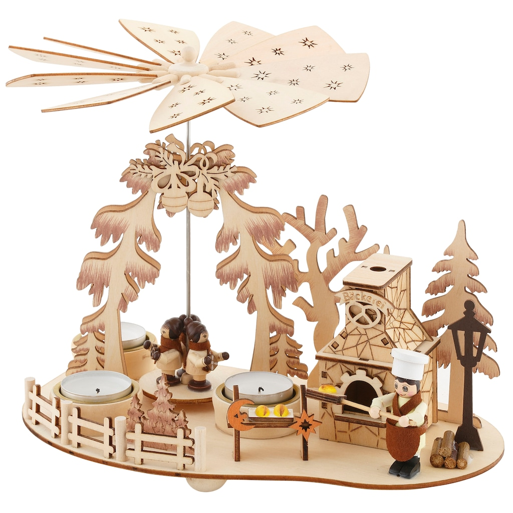 Home affaire Weihnachtspyramide »Bäckerei«, Teelichtpyramide mit Räucherofen, Höhe ca. 23 cm