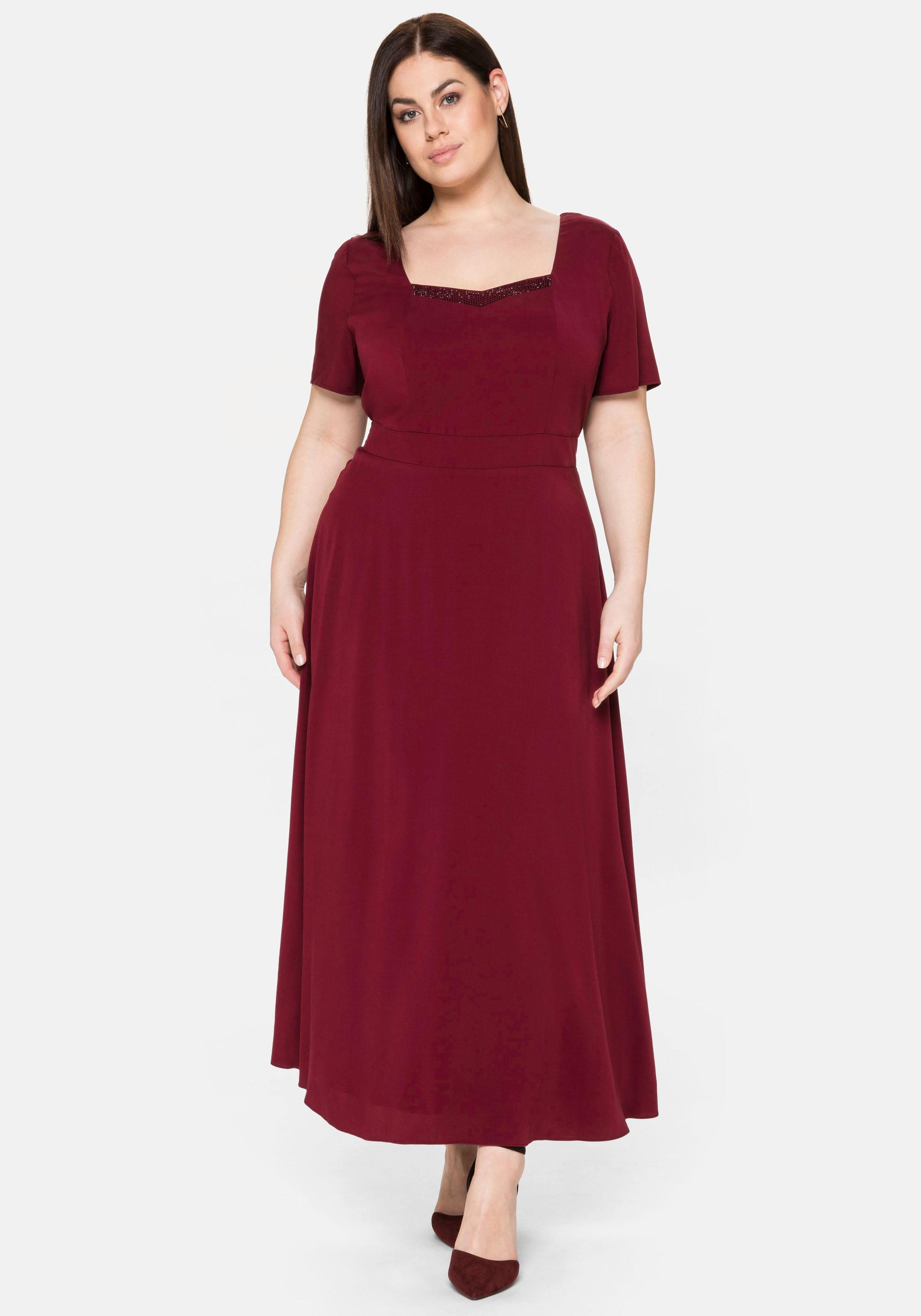 Sheego Abendkleid, mit Schmucksteinen rot Damen Abendkleid Lange Kleider