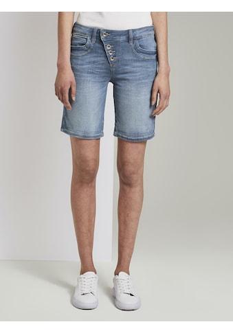 TOM TAILOR Jeansshorts »Alexa Slim Bermuda Jeansshorts mit Knopfleiste« kaufen