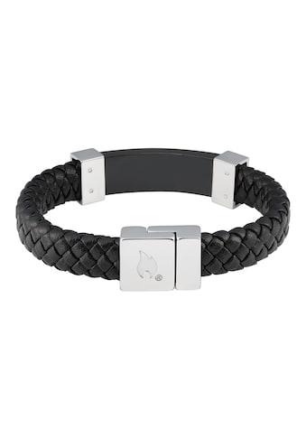 Zippo Armband »Lederarmband schwarz mit Stahl«, Lederbesatz kaufen