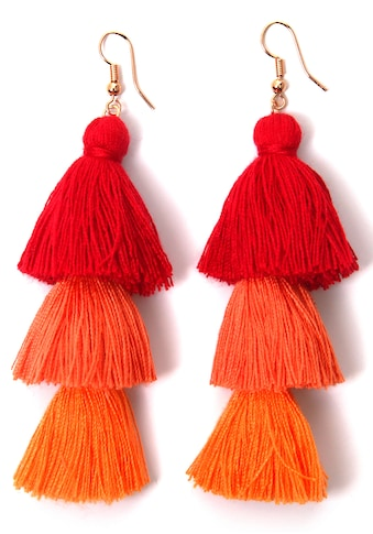 J.Jayz Paar Ohrhaken »Quasten, rot-orange, modisch« kaufen
