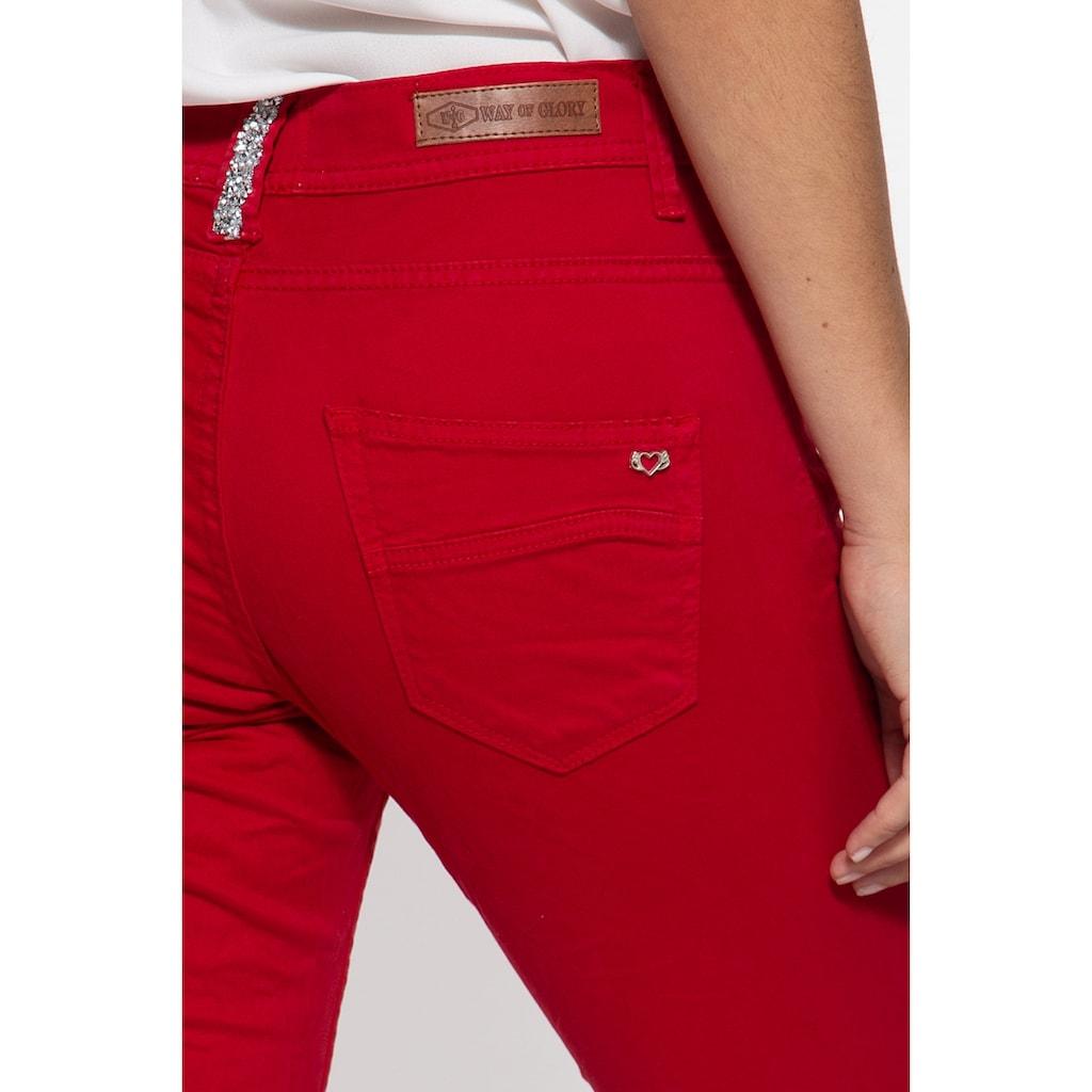 Way of Glory Slim-fit-Jeans, mit asymmetischer Knopfleiste