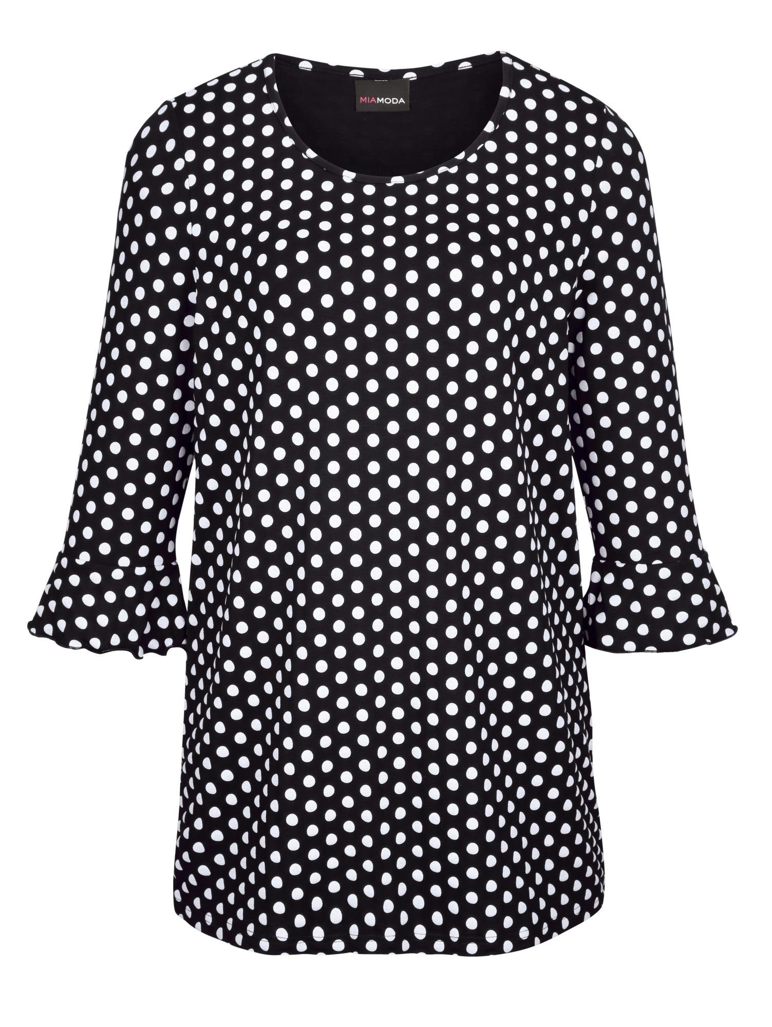 MIAMODA Longshirt mit hübschem Pünktchendruck-Muster | Bekleidung > Shirts > Longshirts | Schwarz | Viskose | Miamoda