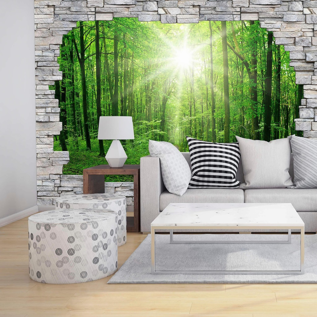 Wall-Art Fototapete »Sunny Forest Mauer«