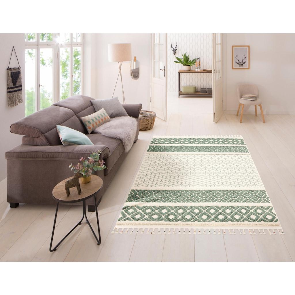 Home affaire Teppich »Arian«, rechteckig, 18 mm Höhe, mit Fransen, Wohnzimmer