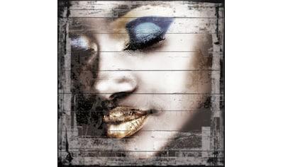 QUEENCE Holzbild »Metallisches Gesicht«, 40x40 cm Echtholz kaufen
