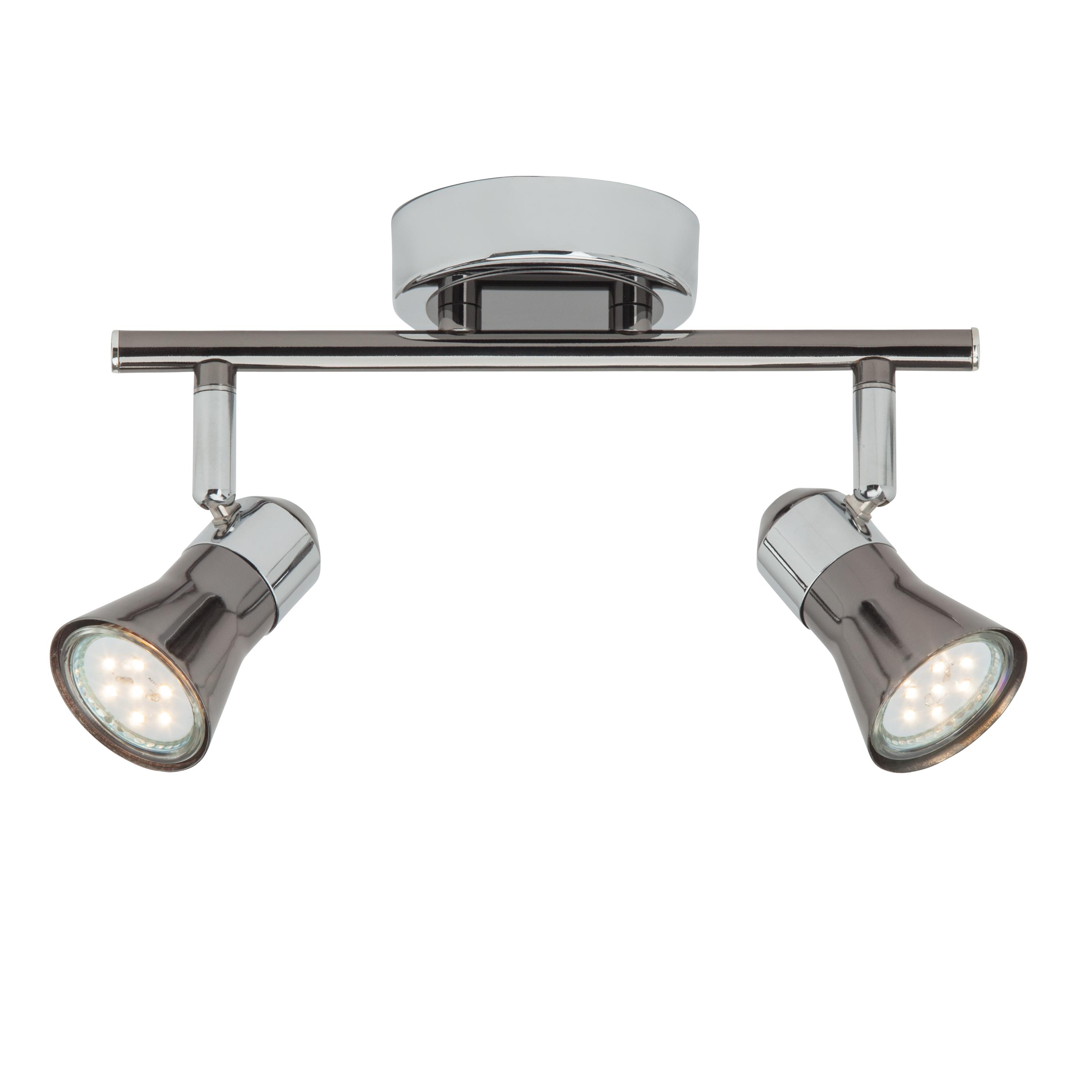 Brilliant Leuchten Jupp LED Spotrohr 2flg chrom/schwarz