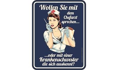 Rahmenlos Blechschild mit Krankenschwester-Motiv kaufen