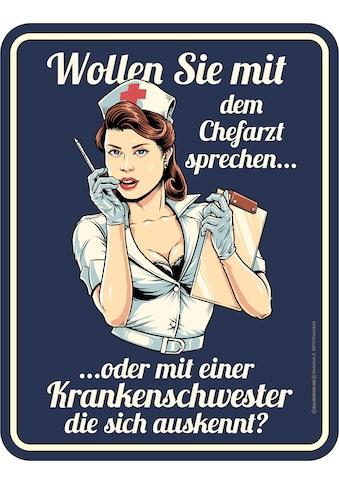 Rahmenlos Blechschild mit Krankenschwester - Motiv kaufen