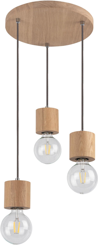 SPOT Light Pendelleuchte TRONGO ROUND, E27, Hängeleuchte, Naturprodukt aus Eichenholz, Nachhaltig mit FSC-Zertifikat, Kabel kürzbar, Made in EU