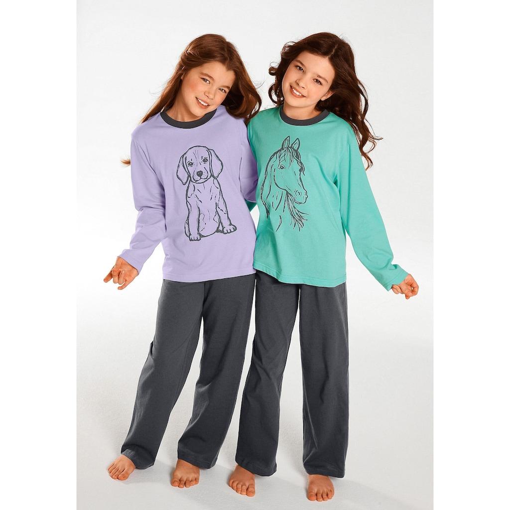 Pyjama, Oberteile in schönen Farben mit Tierdruck