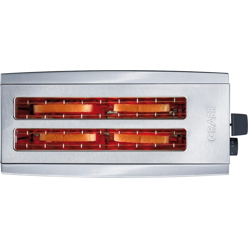 Graef Toaster »TO 100, silber«, 2 lange Schlitze, für 4 Scheiben, 1380 W