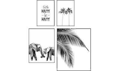 Reinders! Wandbild »Wandbilder Set Be Happy Palm - Baum - Modern - Elefant - Glück«,... kaufen