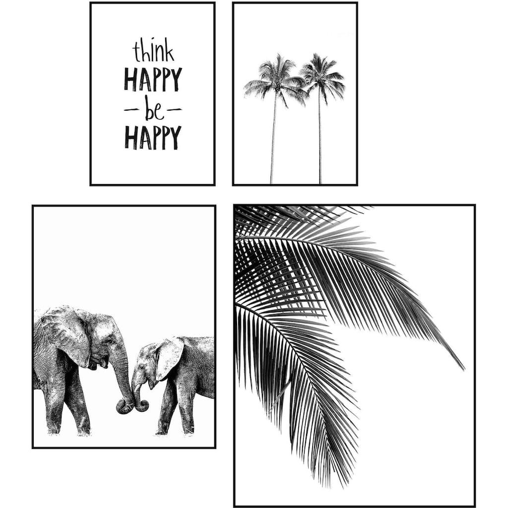 Reinders! Wandbild »Wandbilder Set Be Happy Palm - Baum - Modern - Elefant - Glück«, Schriftzug, (4 St.)