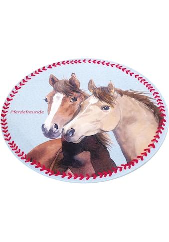 Pferdefreunde Kinderteppich »PF-513«, rund, 6 mm Höhe, Motiv Pferde, Stoff Druck,... kaufen