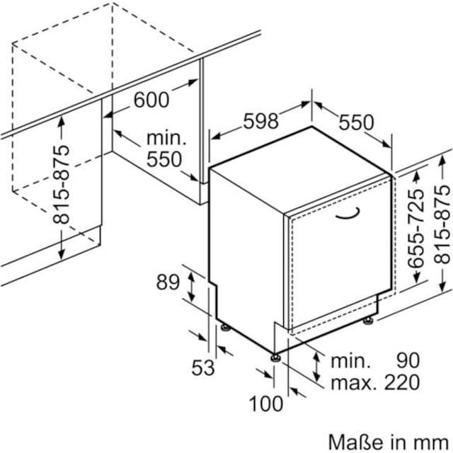 SIEMENS vollintegrierbarer Geschirrspüler iQ300, 9,5 Liter, 13 Maßgedecke