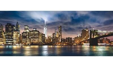 Places of Style Glasbild »New York City - Sonnenaufgang über Manhattan/Brooklyn Bridge USA«, 125/50 cm kaufen