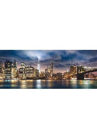 Places of Style Glasbild »New York City - Sonnenaufgang über Manhattan/Brooklyn Bridge... kaufen