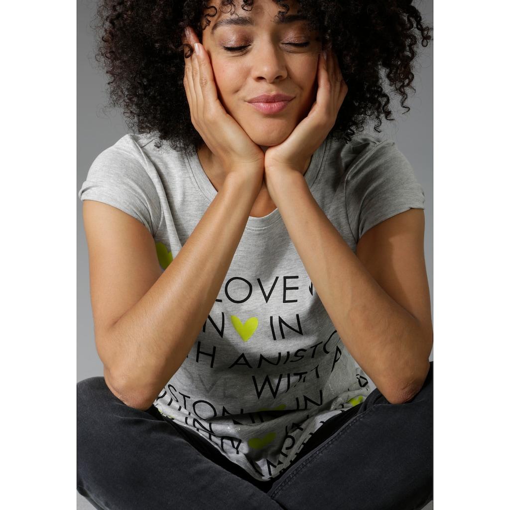Aniston CASUAL T-Shirt, mit Glitzerschriftzug und neonfarbenen Herzen