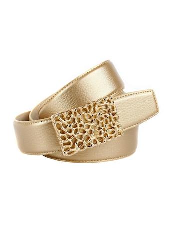 Anthoni Crown Ledergürtel, mit glänzender, filigraner, goldfarbener Schließe kaufen