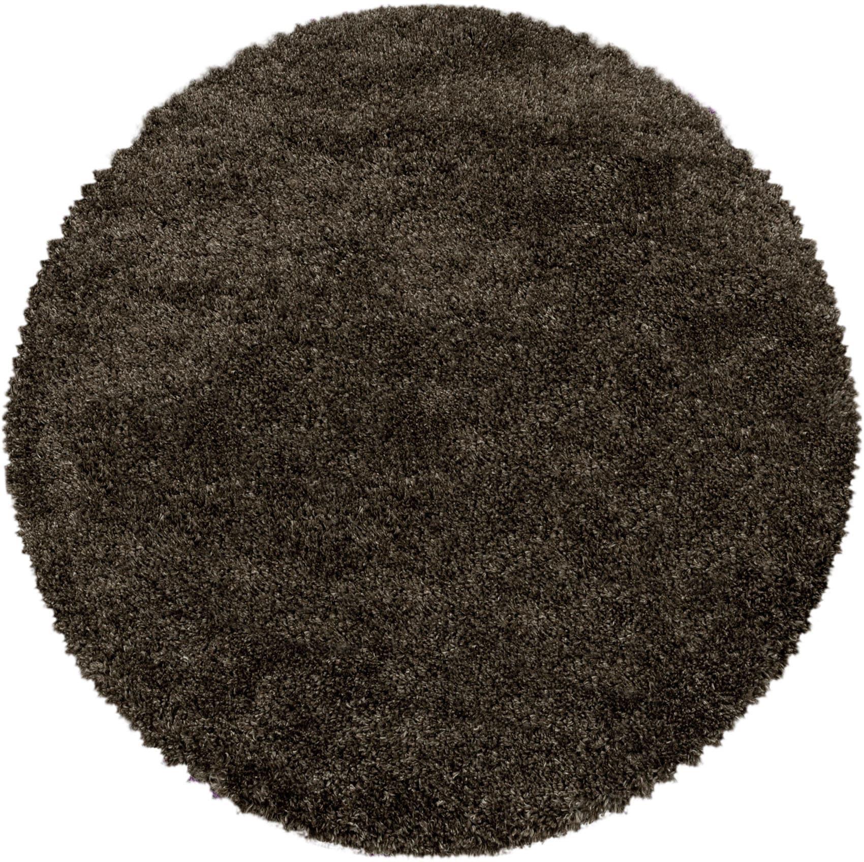 Ayyildiz Hochflor-Teppich FLUFFY 3500, rund, 50 mm Höhe braun Wohnzimmerteppiche Teppiche nach Räumen
