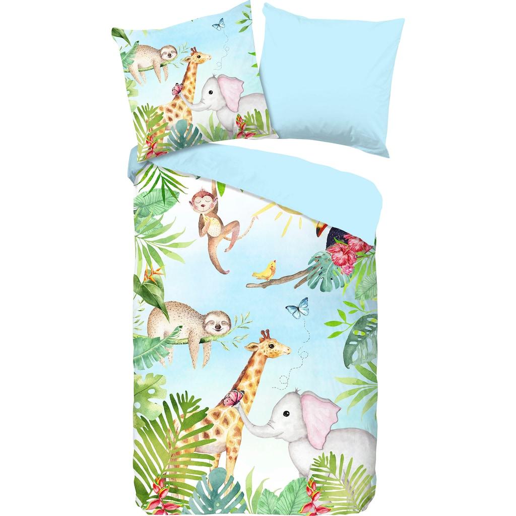 good morning Kinderbettwäsche »Bambini«, mit niedlichen Dschungel-Tieren