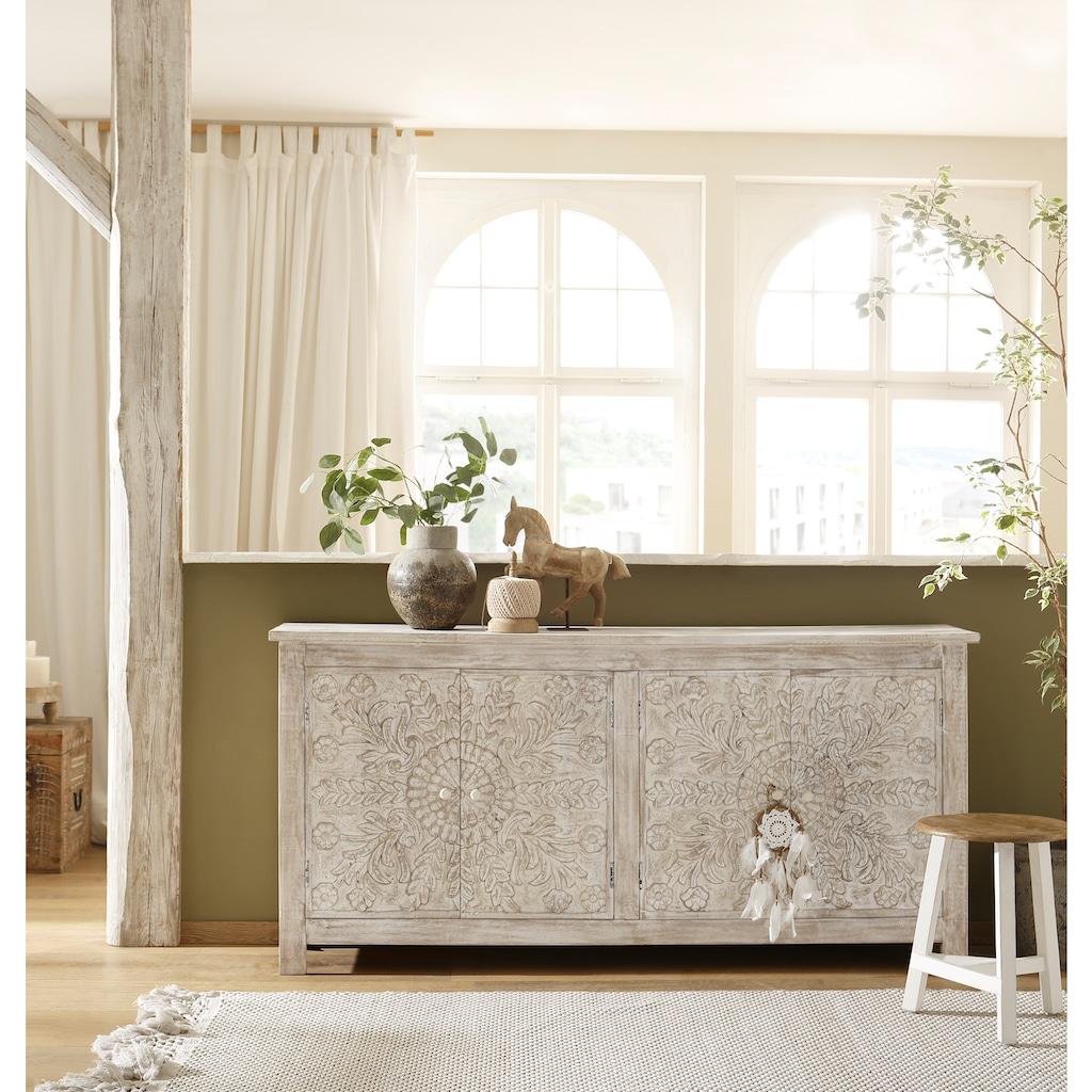 Home affaire Sideboard »Fenris«, aus massiven, pflegeleichten Mangoholz, mit dekorativen Schnitzereien, Breite 175 cm