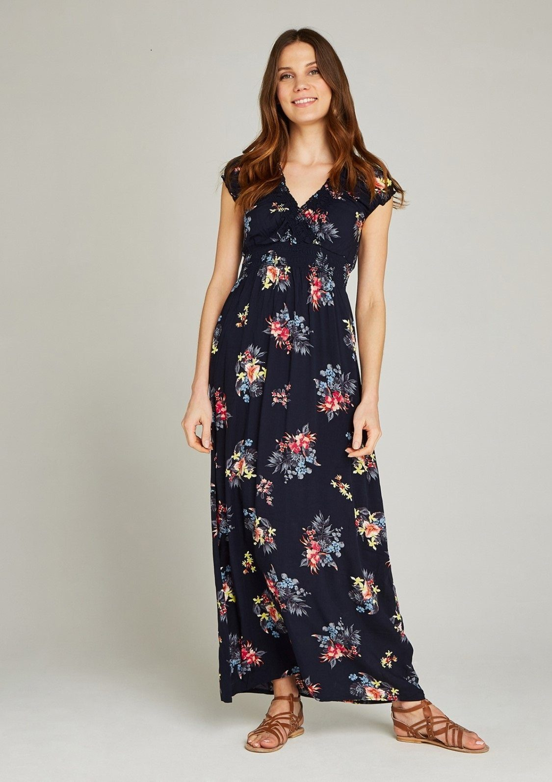 Apricot Maxikleid Tropical Bunches Print Maxi Dress