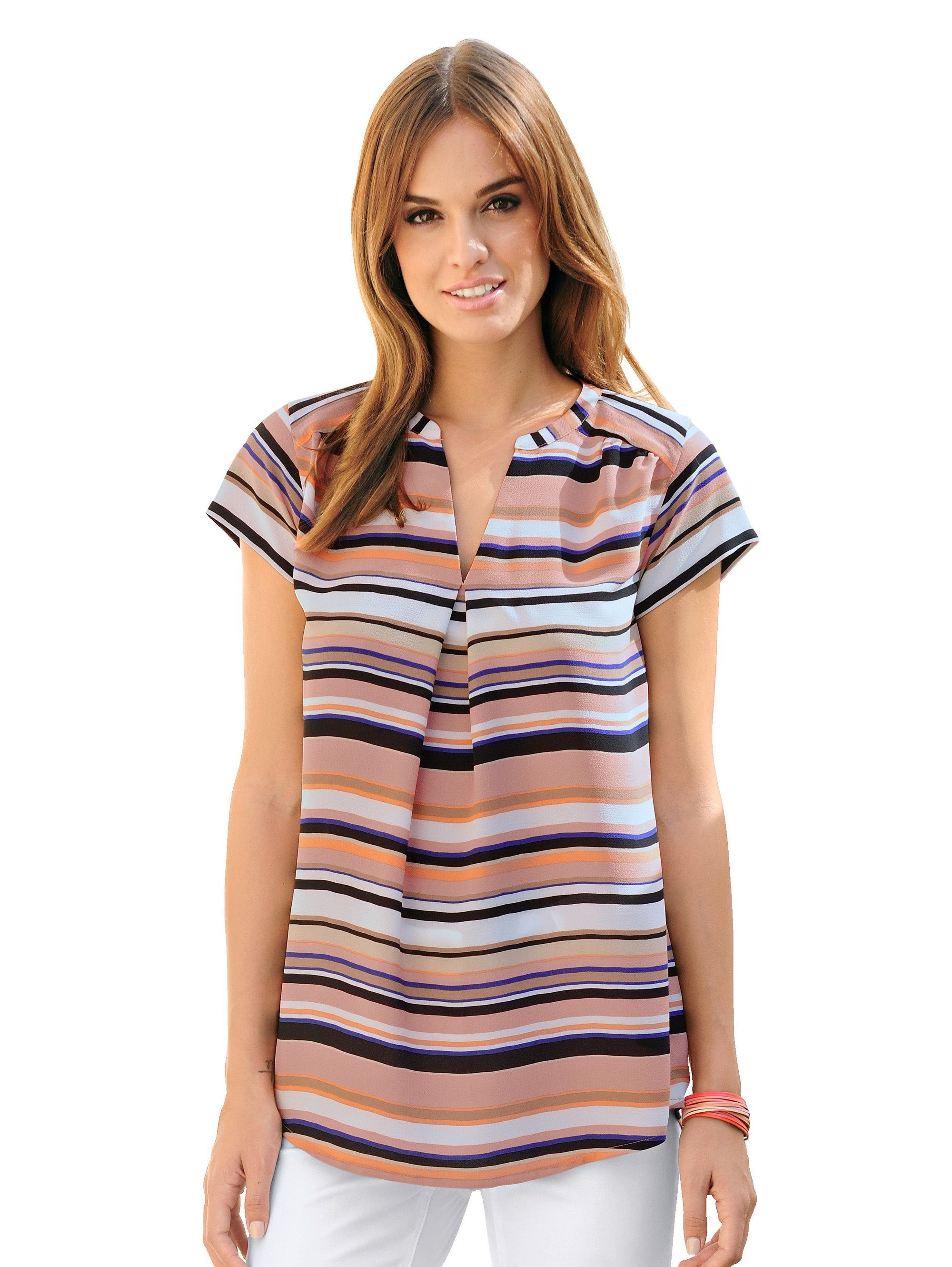 Alba Moda Blusenshirt in modischem Streifendessin