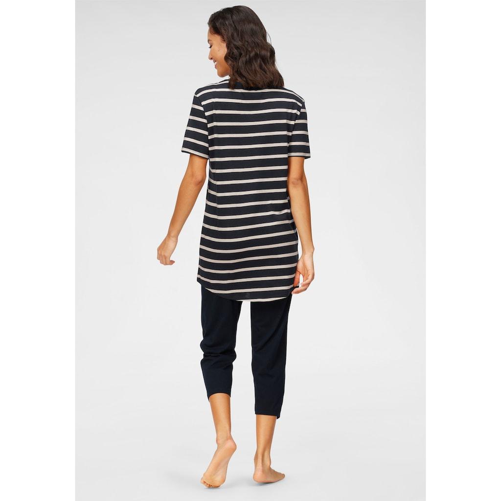Schiesser Capri-Pyjama, mit geringeltem Top