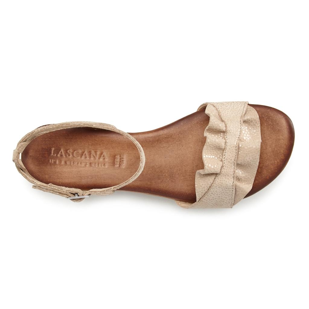 LASCANA Sandale, aus Leder mit Rüschen