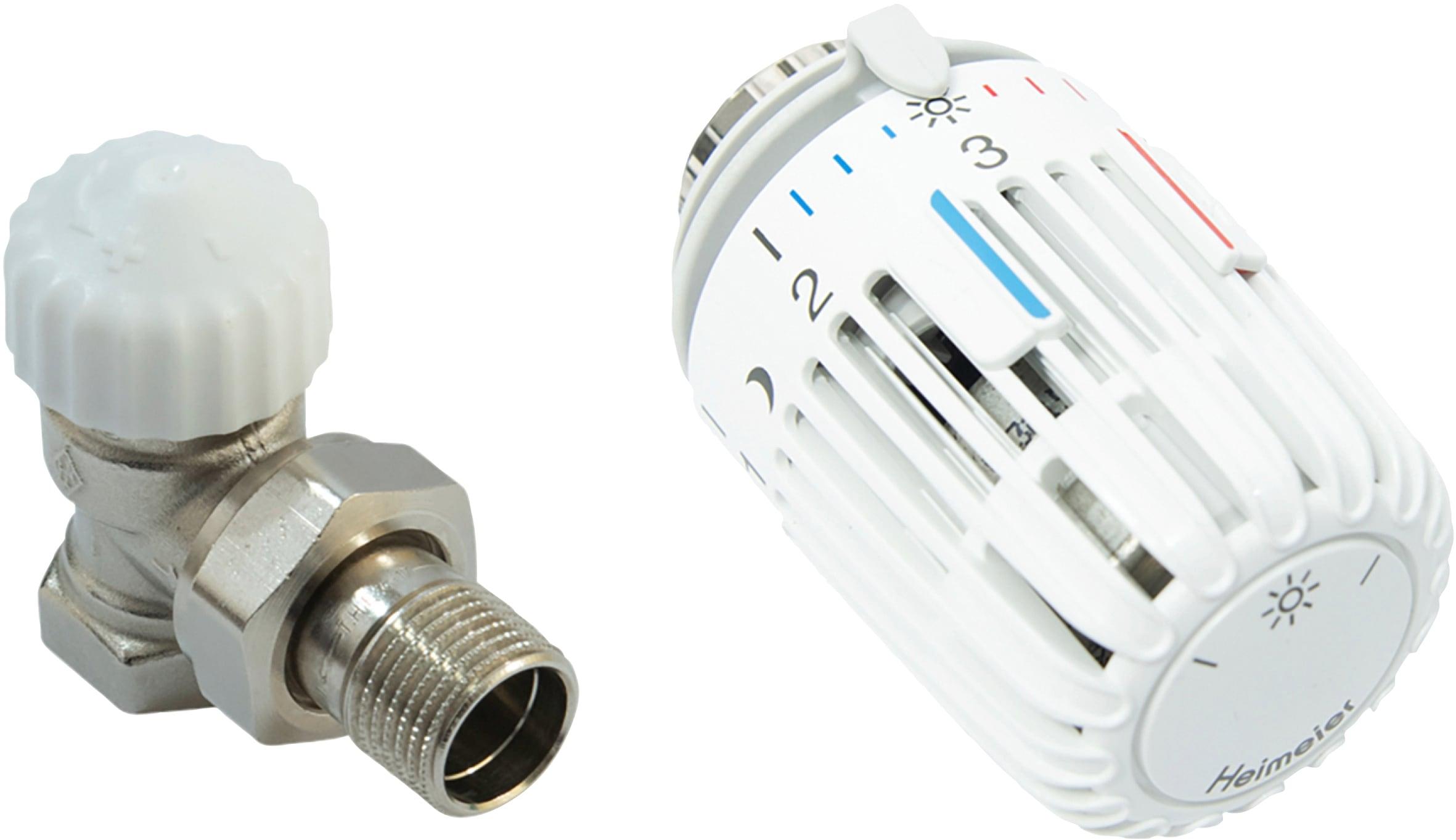 CORNAT Heizkörperthermostat Eck, Thermostatventil und Kopf weiß Thermostate Heizen Klima