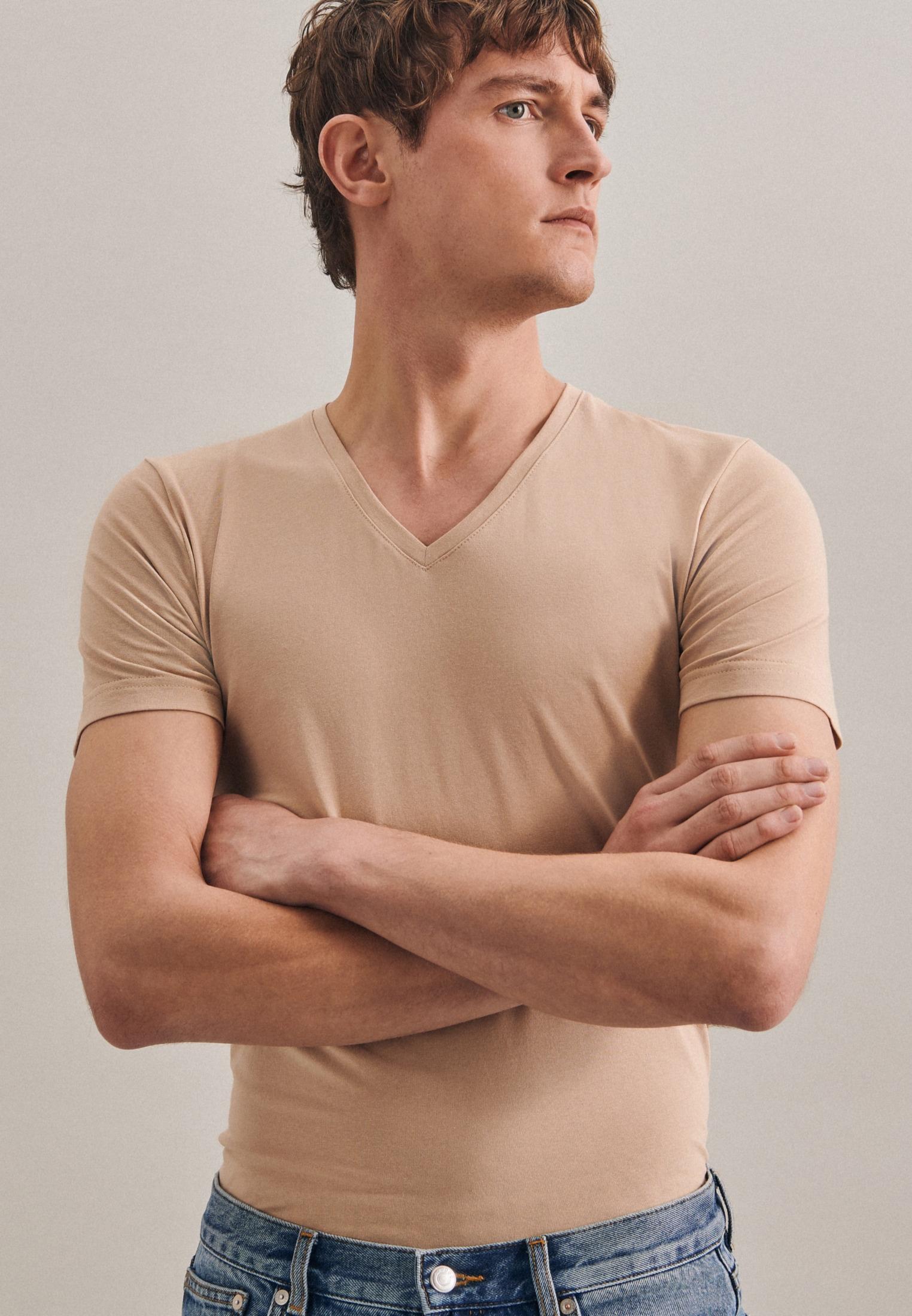 seidensticker -  T-Shirt Schwarze Rose, Kurzarm V-Neck Uni