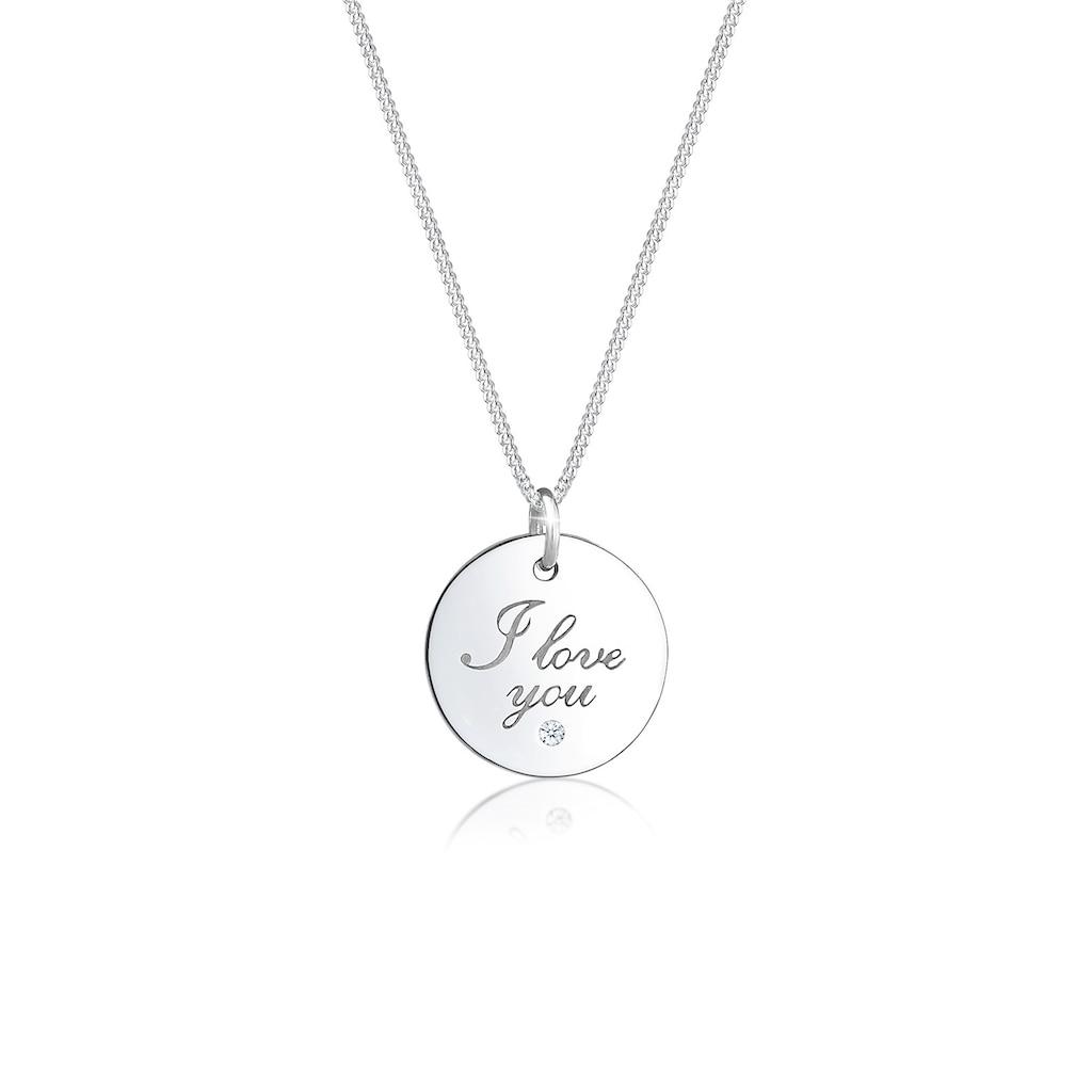 Elli Collierkettchen »I Love You Wording Diamant (0.015 ct) 925 Silber«