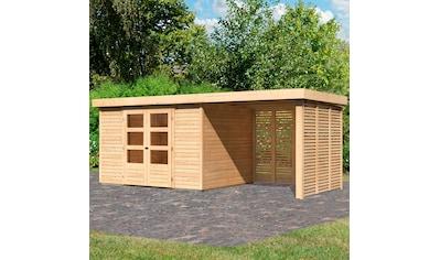 KARIBU Set: Gartenhaus »Arnis 5«, BxT: 554x262 cm, mit Anbau inkl. Seiten -  und Rückwand kaufen