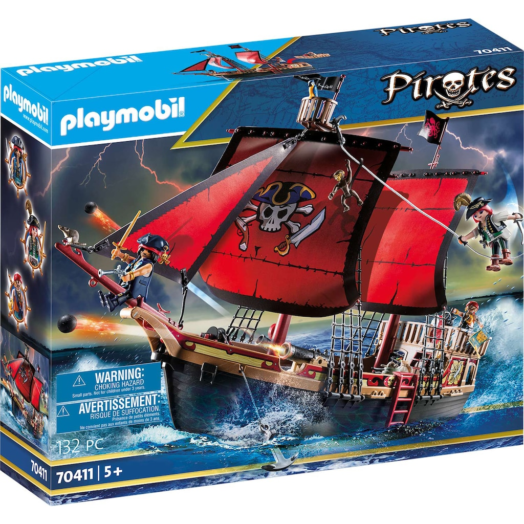 Playmobil® Konstruktions-Spielset »Totenkopf-Kampfschiff (70411), Pirates«, Made in Europe