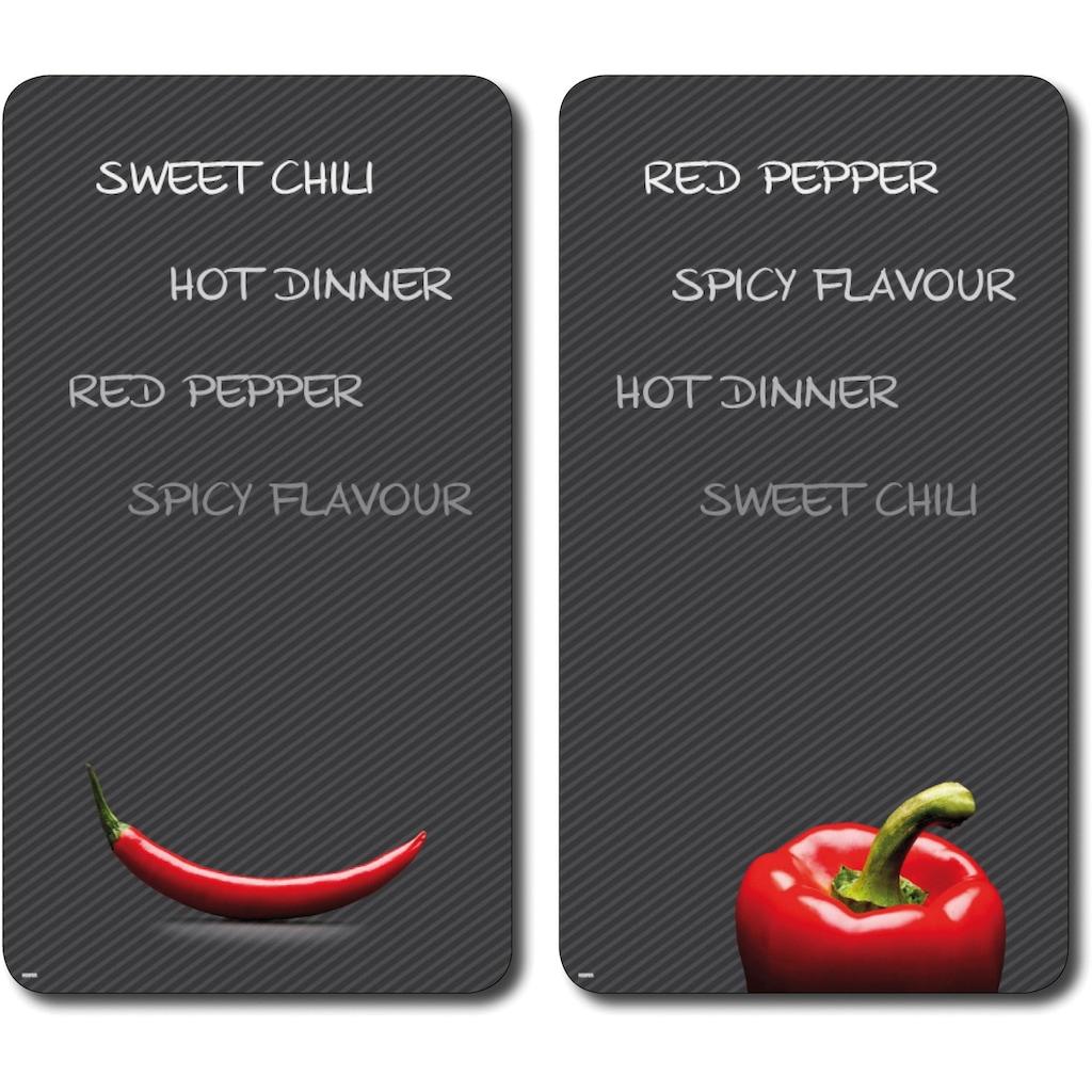 KESPER for kitchen & home Schneide- und Abdeckplatte »Paprika und Chili«, praktisch unzerbrechlich mit Schiefer-Dekor