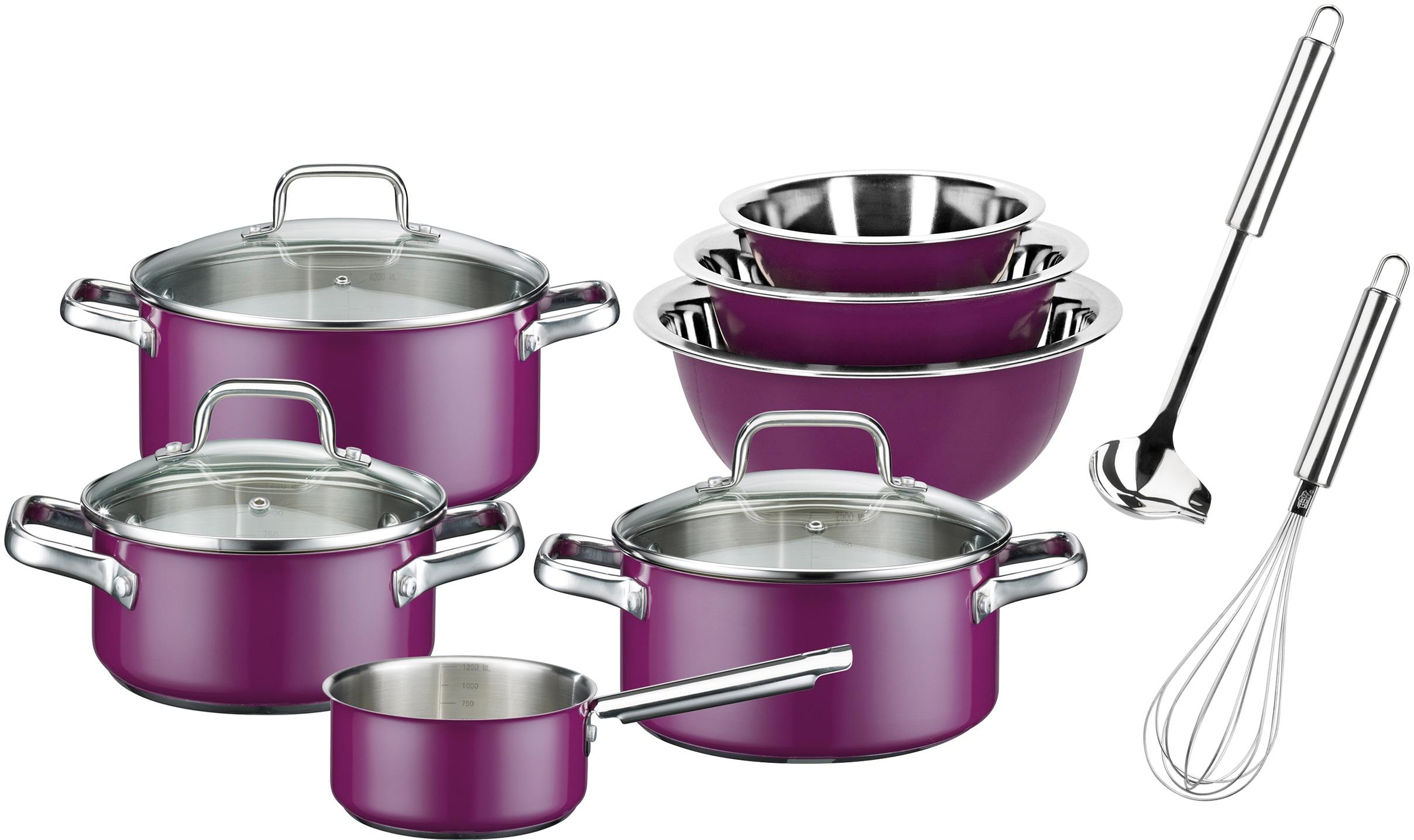 GSW Topf-Set Magic Color, Edelstahl 18/8, (Set, 12 tlg.), Induktion lila Topfsets Töpfe Haushaltswaren