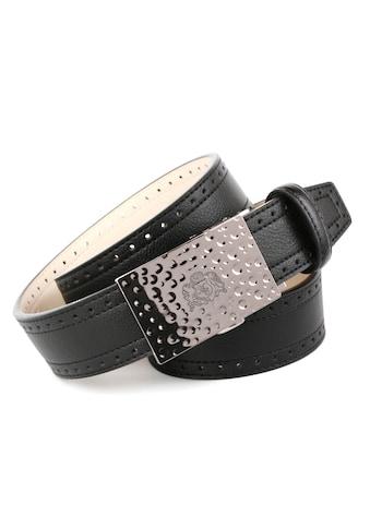 Anthoni Crown Ledergürtel, mit Automatik-Schließe, Ausstanzungen am Rand kaufen