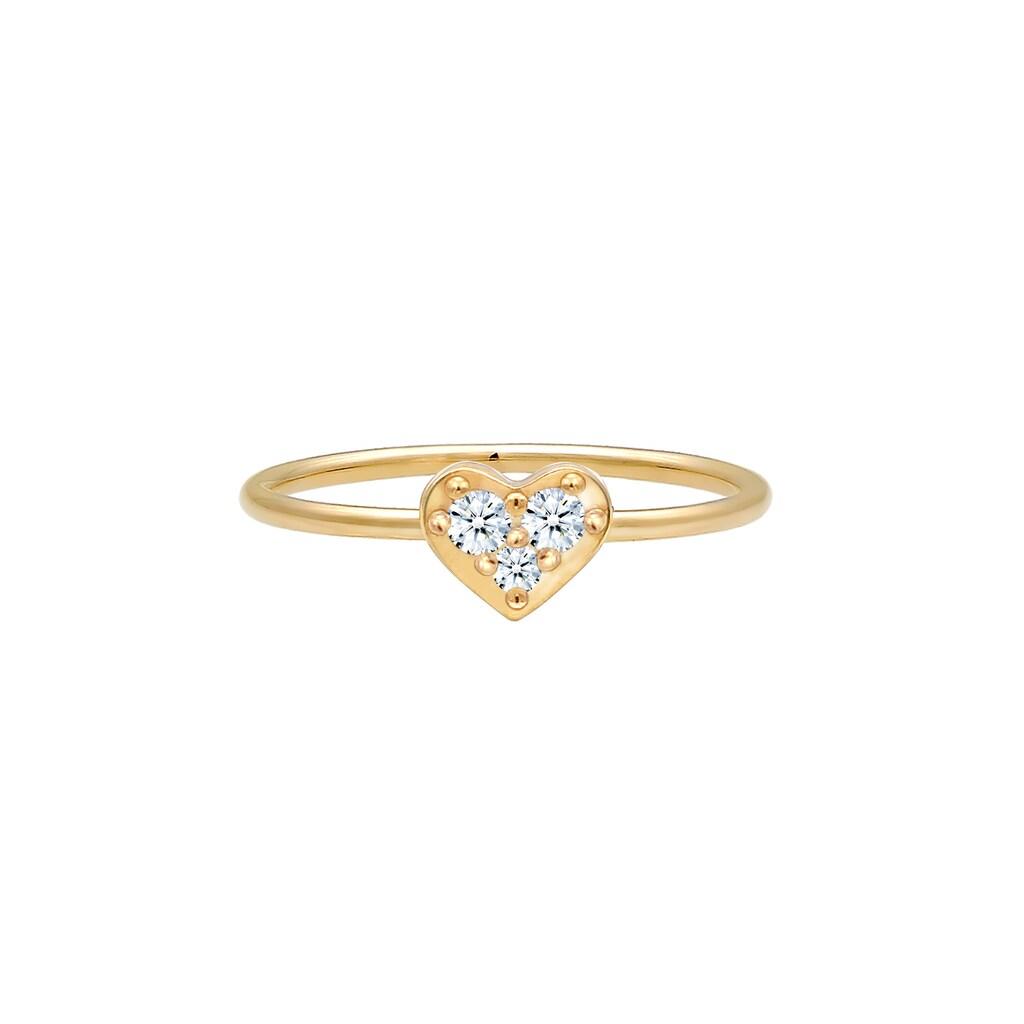 Diamore Verlobungsring »Herz Trio Diamant (0.075 ct.)Romantik 585 Gelbgold«