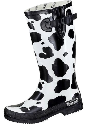 Stiefel »Damen Regenstiefel KUH schwarz/weiß«, Damen Regenstiefel KUH schwarz/weiß kaufen