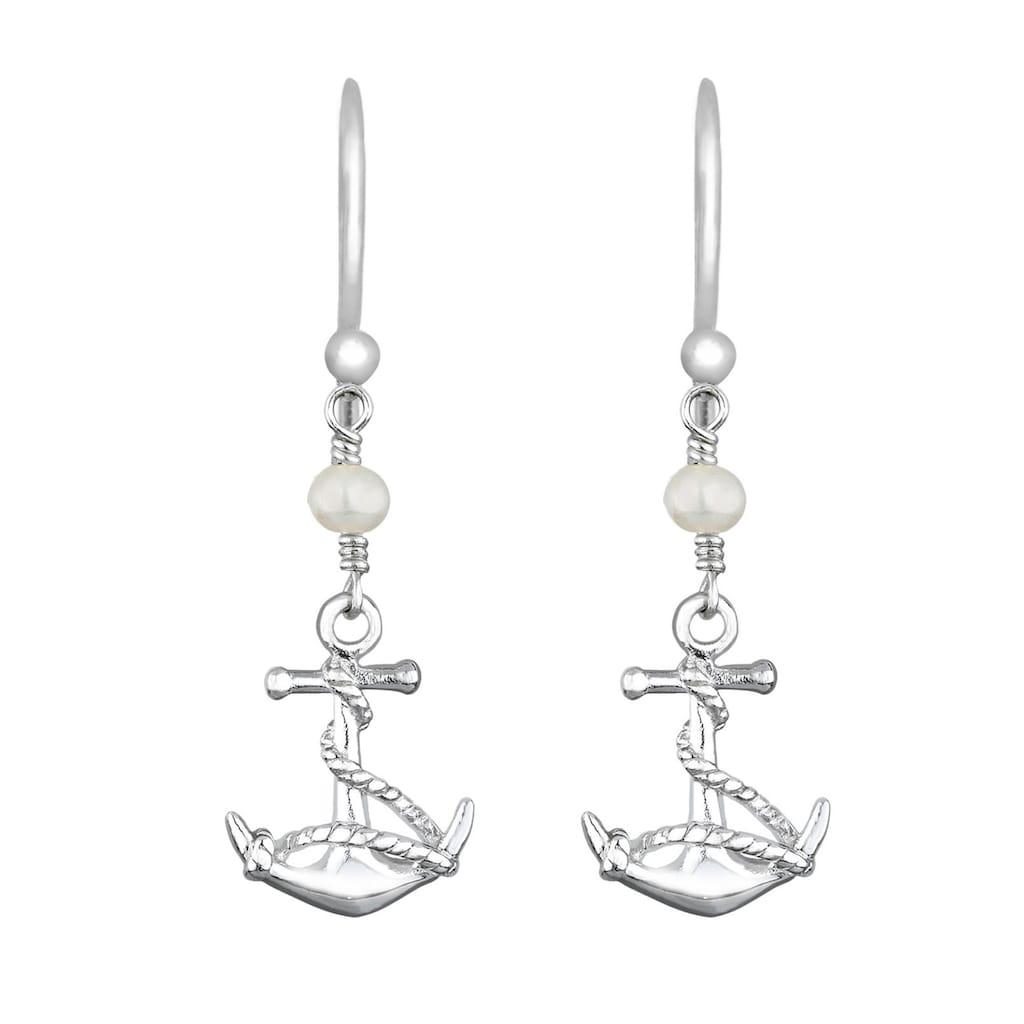 Elli Paar Ohrhänger »Anker Süßwasserzuchtperle Maritim 925 Silber«