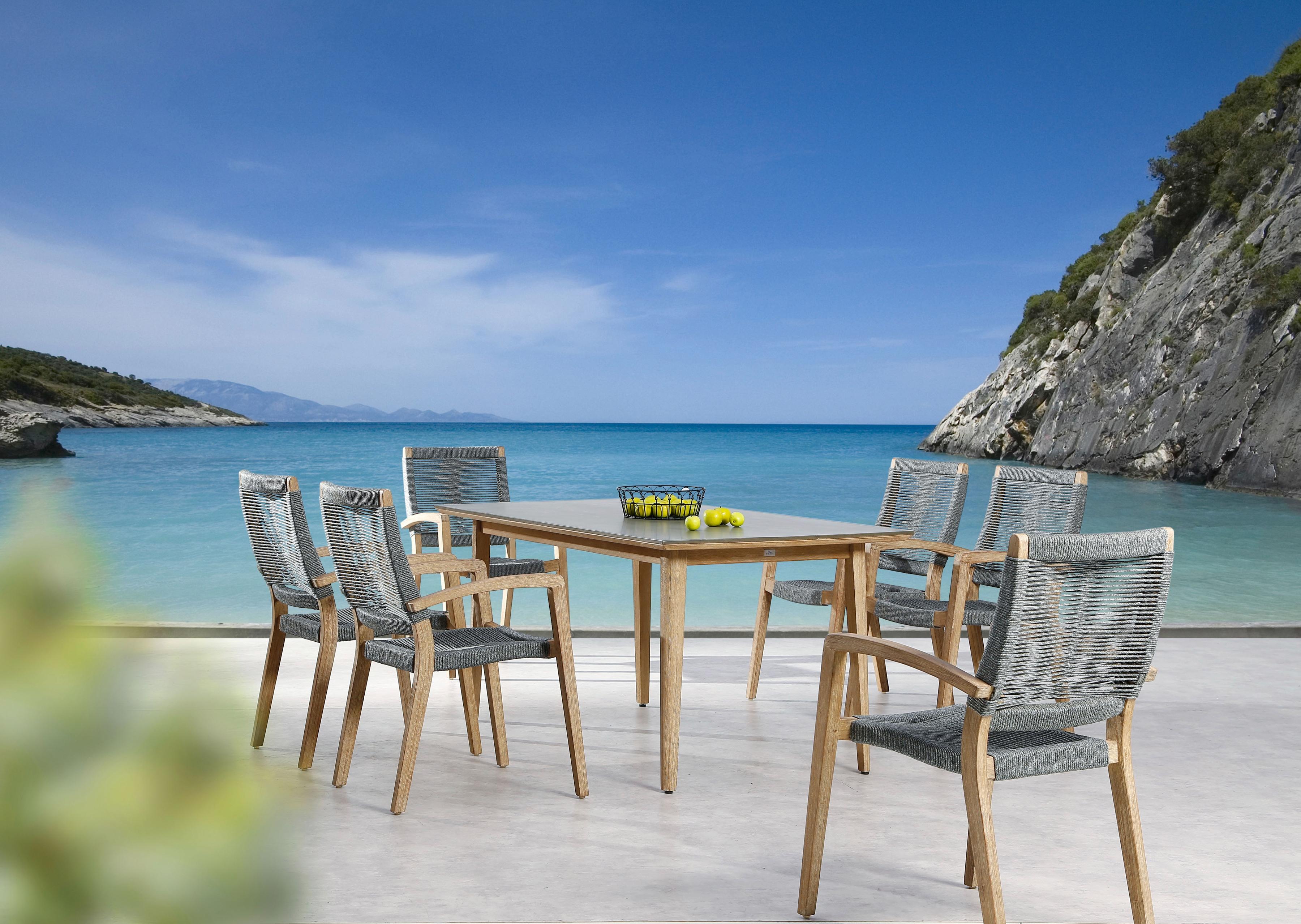 BEST Gartenmöbelset Lagos 7-tlg 6 Sessel Tisch 170x90 cm Alumimium